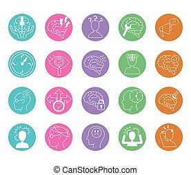 iconos, mental, línea, conjunto, alzheimer, humano, disminución, capacidad, enfermedad, estilo