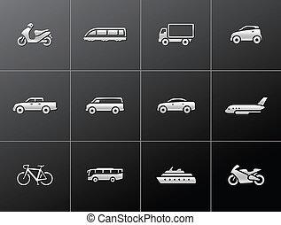 iconos metálicos: transporte