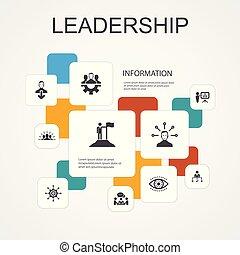 iconos, motivación, trabajo en equipo, template., comunicación, liderazgo, infographic, simple, línea, responsabilidad, 10