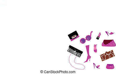 iconos, mujeres, (, bolsas, -, shoes, ), accesorios, rosa