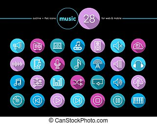 Iconos musicales planos