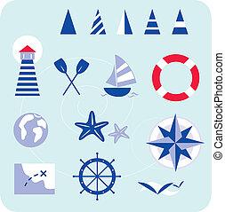 iconos náuticos azules y marineros