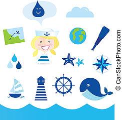 iconos náuticos y aventureros