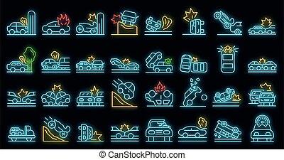 iconos, neón, coche, vector, conjunto, accidente