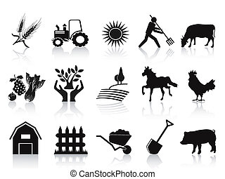 iconos, negro, conjunto, granja, agricultura