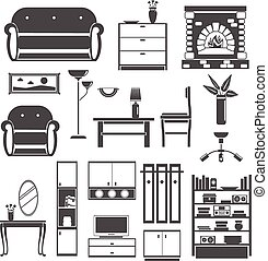 Iconos negros de interior