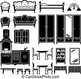 iconos negros de muebles