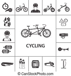 iconos negros en bicicleta