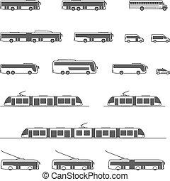 iconos, público, vector, transporte