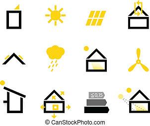 iconos pasivos aislados en blanco (Negro y amarillo)
