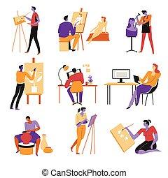 iconos, pintores, alfarero, artistas, escultor, o, aislado, escritor