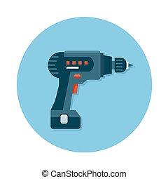 iconos planos con herramientas de construcción Drill