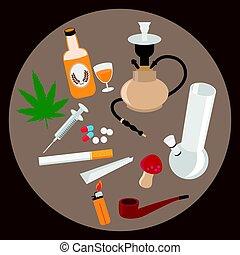 iconos planos de drogas, ilustración vectorial.