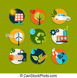 Iconos planos de ecología