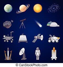 iconos planos de exploración espacial establecidos