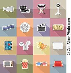 Iconos planos del cine ilustración vectorial