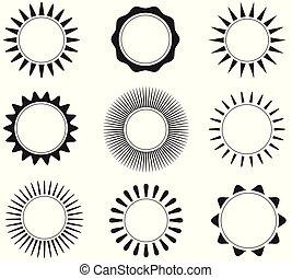 iconos planos del sol
