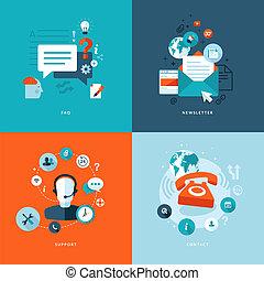 iconos planos para comunicaciones web