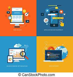 iconos planos para el desarrollo de la web