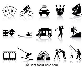 iconos, recreación, conjunto, ocio