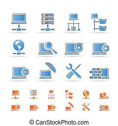 iconos, red, hosting, servidor