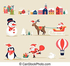 Iconos retro de Navidad, elementos e ilustraciones