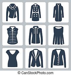 iconos, ropa, chaqueta, sweatshirt, sobretodo, chamarra, mujeres, down-padded, vector, set:, traje, blusa, chaleco, cima, puente