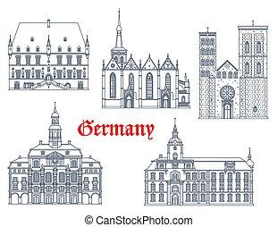 iconos, señales, alemania, arquitectura, catedrales