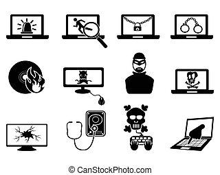 iconos, seguridad, cyber, computadora, thift