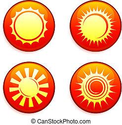 iconos solares en los botones de internet
