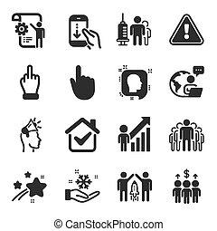 iconos, symbols., ajustes, gente, reunión, conjunto, cianotipo, grupo, vector, tal
