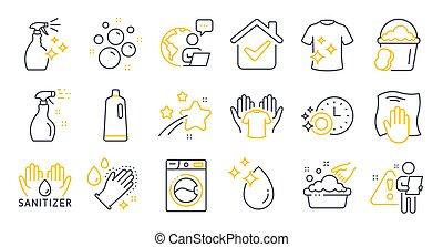 iconos, symbols., lavado, camiseta, tela, sanitizer, conjunto, limpieza, limpio, mano, vector, tal