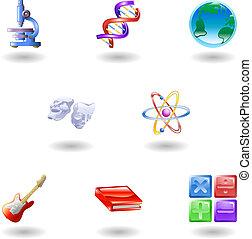 iconos, tela, brillante, categoría, educación