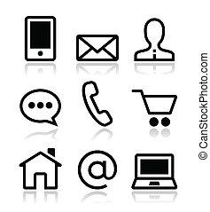 iconos, tela, conjunto, contacto, vector