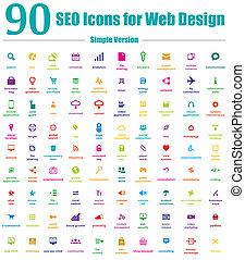 iconos, tela, simple, seo, diseño, 90