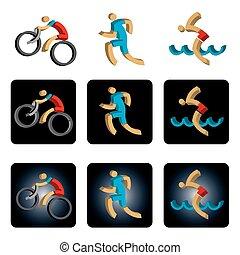 iconos triatlón tridimensionales.