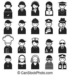 iconos, vario, gente, ocupación