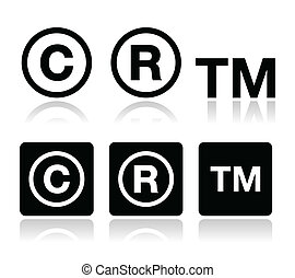 iconos, vector, marca registrada, propiedad literaria