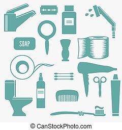 Iconos vectores de baño