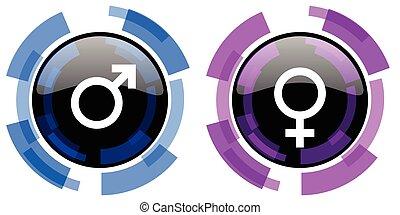 Iconos vectores masculinos femeninos