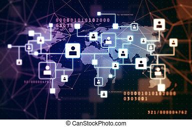 iconos virtuales de la red social sobre el mapa mundial