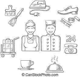 iconos y símbolos del servicio del hotel
