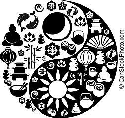 iconos, yang, símbolo, zen, yin, hecho