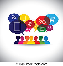 Icons de consumidores o usuarios en línea en las redes sociales, compras - vector gráfico. Este gráfico también representa la comunicación de las redes sociales, compras de internet, chat, interacción de redes sociales