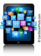 Icons en una tableta. Vector