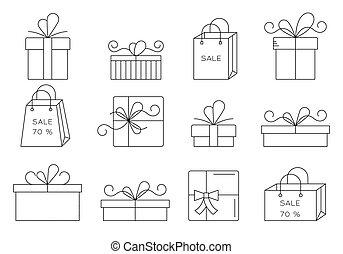 icons., línea, regalo, delgado, conjunto