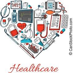 Icos de atención médica en forma de corazón