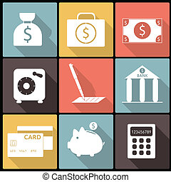 Icos financieros bancarios en diseño plano