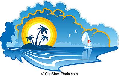 Idílico isla tropical con un yate
