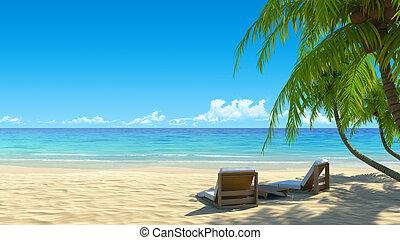 idílico, sillas, dos, tropical, arena, playa blanca